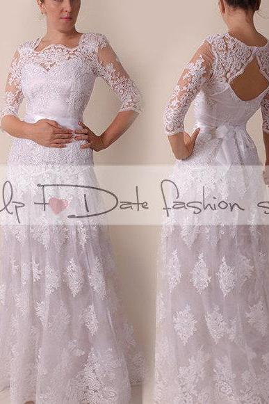 Lace Wedding dress / Portrait back /Aline mаxi dress/ Bridal Gown 3/4 sleeve