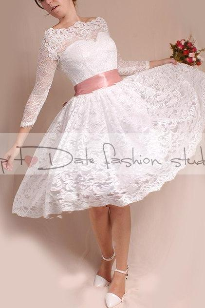 Off-Shoulder/Short wedding romantic lace dresses /Custom Made/ 3/4 Sleeves Bridal Gown