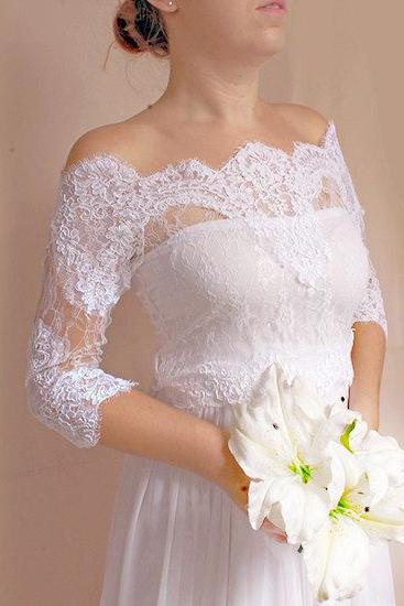 Bridal lace bolero Off-Shoulder / French Lace /wedding jacket/ shrug/ lace top