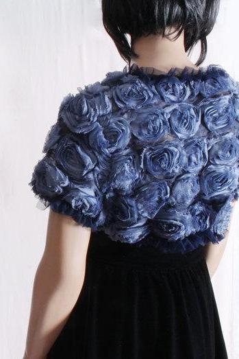 Navy blue / Evening/ bridal/ prom/ rouse/ ruffles shrug jacket/ wedding bolero