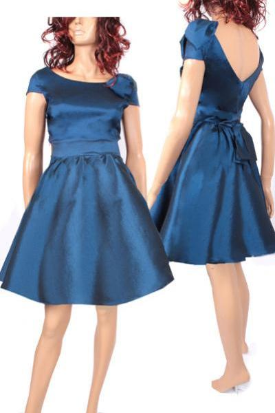 Bridesmaid navy blue taffeta /party /prom /graduation/ dress