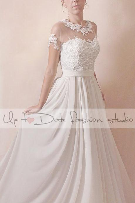 Plus size/custom made/floral lace applique/long wedding dress/A line gown