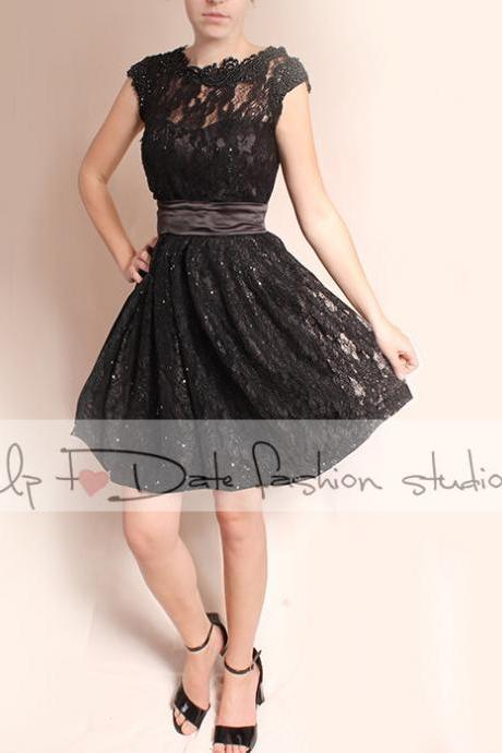 Wedding black lace dress/short sleeves Bridal Gown/ short sleeve