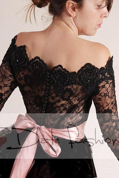 Plus Size black lace bolero Bridal /Off-Shoulder /Lace wedding jacket/ shrug/ jacket / lace top