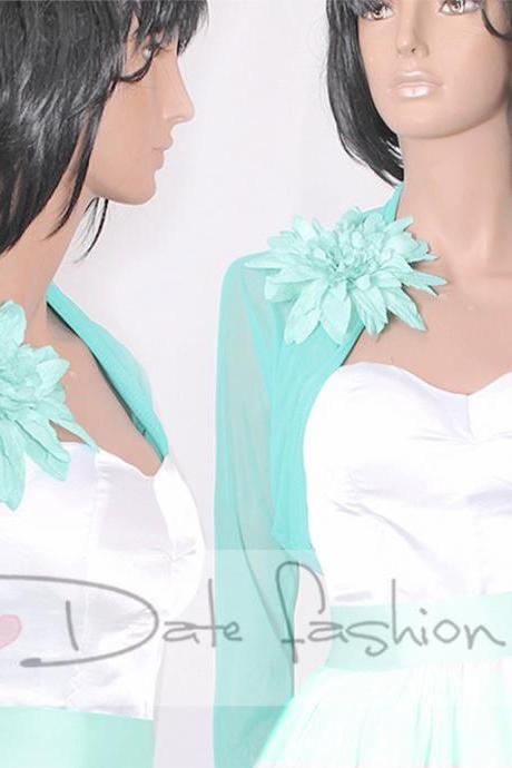 Bridal tulle jacket / long sleeves mint / wedding bolero/cover up