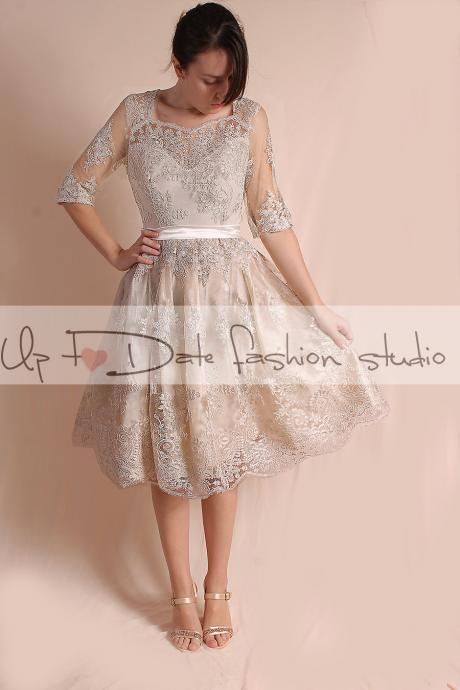 Party / Cocktail / evening/ knee length/ lace dress/ 3/4 Sleeves /open back/ ekryu dress