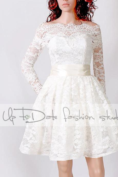 Lace Short/ Off-Shoulder /Custom Made / wedding / reception dress / 3/4 Sleeves/ Bridal Gown