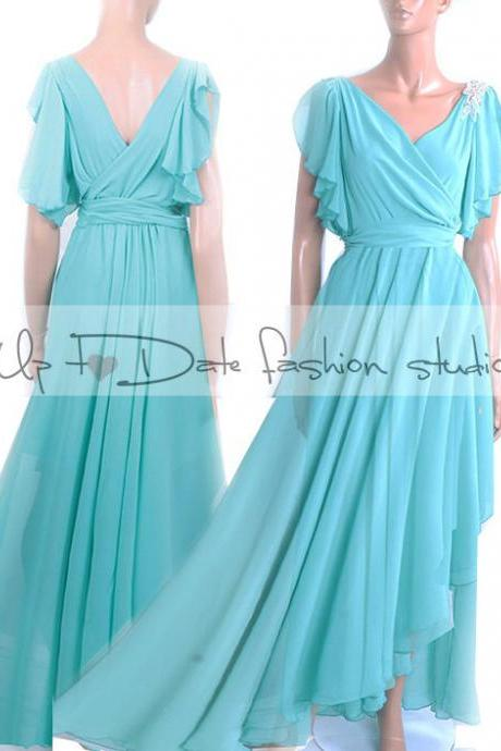 Maxi /mint/ chiffon /bridesmaid/ evening / party/ dress