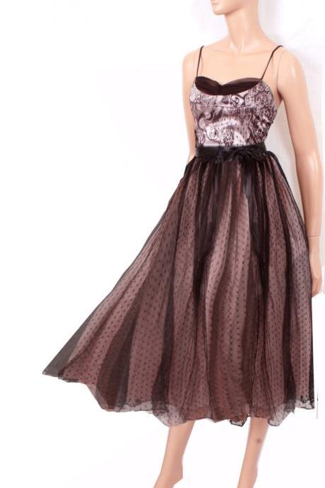 Tea length Little Black Satin Lace/ Satin / tulle Dress