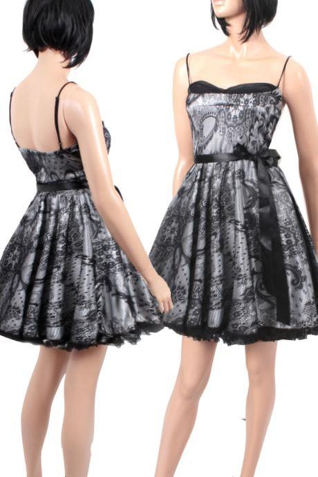 Plus Size Little Black Lace / Satin Dress