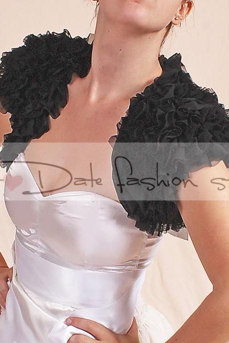 Black/ Evening/ bridal/ prom/ fluffy ruffles shrug jacket/ wedding bolero