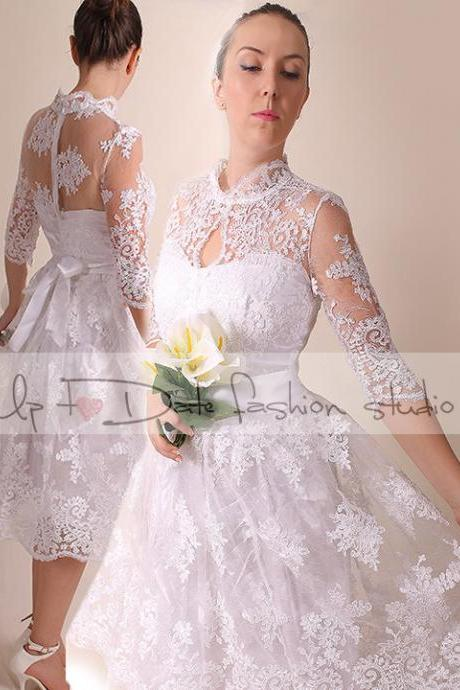 Lace Wedding dress with slleve/ knee length/Royal elegans top/Bridal Gown