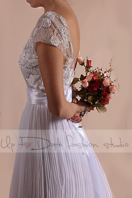 Wedding lace/3D Chiffon Flower Sequins Silver Fabric /short sleeves / long Bridal Gown