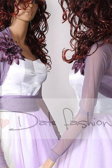 Bridal purple tulle jacket /long sleeves wedding bolero/cover up/color violet