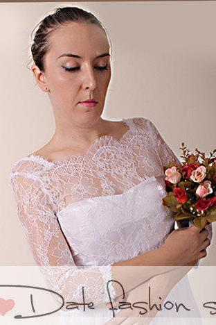 White wedding bolero/ Chantilly Lace /bridal shrug /jacket 3/4 sleeve
