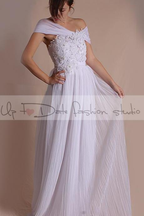 Plus Size Off-Shoulder Wedding /Bridal/ floral lace applique dress/ draped tulle long A-line dress/custom order