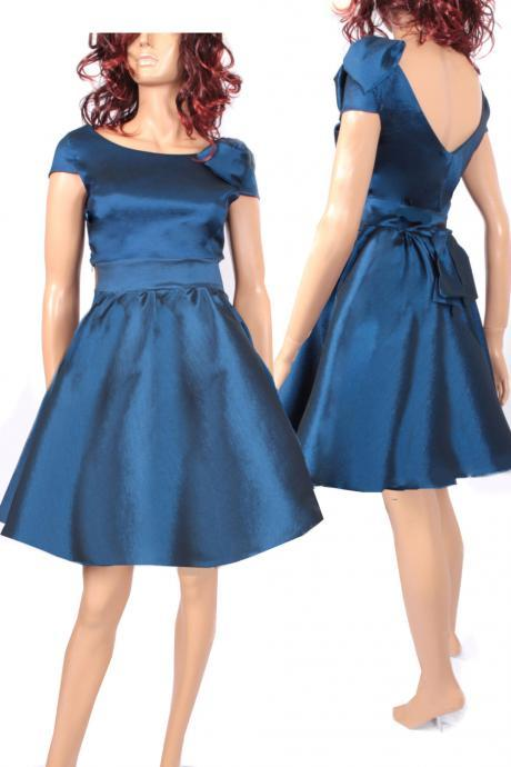 Plus Size navy blue taffeta /party /prom /graduation/ dress bridesmaid / evening / dress