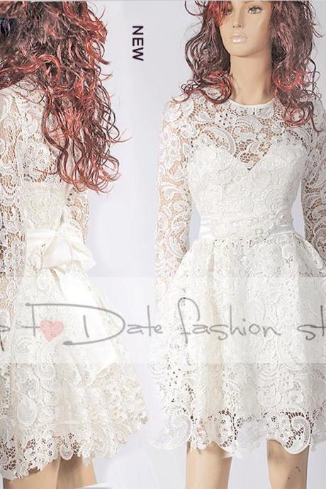 Party / short lace dress/wedding party/cocktail / elegant romantic dress