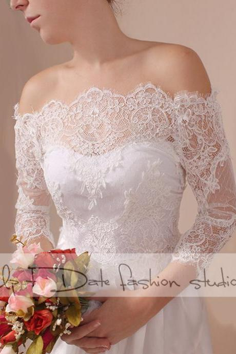 Plus Size lace bolero Bridal Off-Shoulder / Lace wedding jacket/ shrug/ jacket / lace top 3/4 sleeves