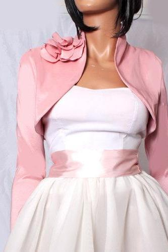 Plus Size peach pink taffeta bridal shrug / long sleeve / wedding / bridesmaid/ bolero