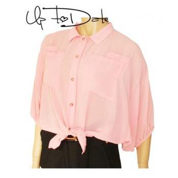 Baby pink / chiffon blouse with buttons