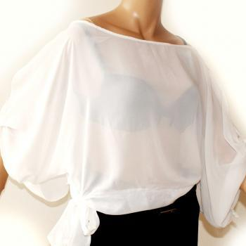 Plus Size White Sexy Chiffon / vacation/beach/summer/ blouse/top
