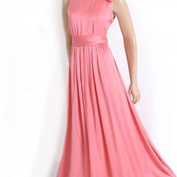 Maxi Bridesmaid/ Wedding party/ Cocktail / Evening Coral Satin dress