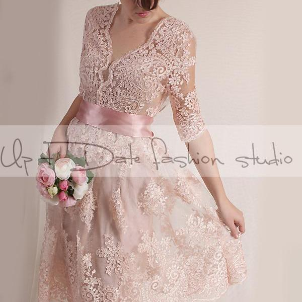 Plus Size blush pink party /evening /Cocktail /lace dress/ knee length/ romantic dress