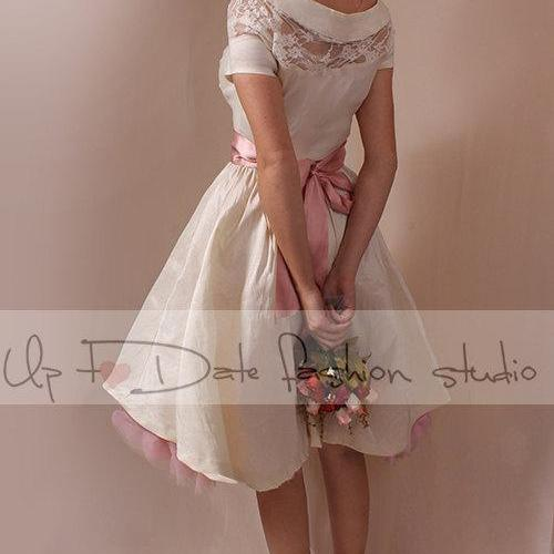 Plus Size ivory taffeta /wedding party/reception/ intimate bridal gown