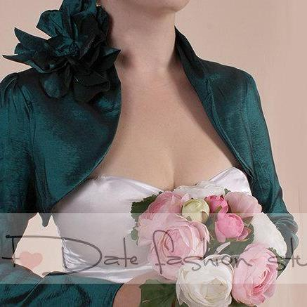 Dark emerald green taffeta / long sleeve / bridal shrug wedding bolero