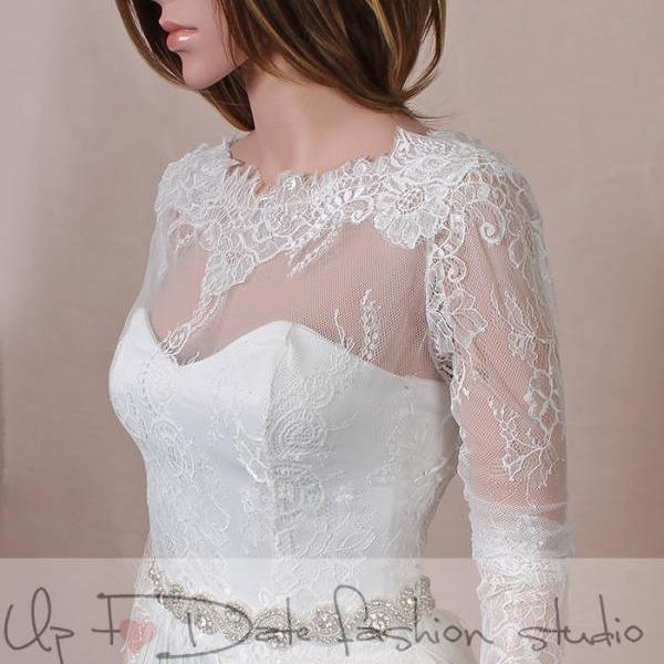 Wedding lace bolero V back / wedding jacket/ shrug/bridal lace top