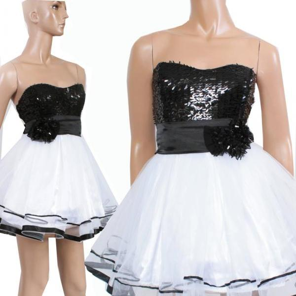 Prom/Party/ Cocktail/ Sweetheart / wedding party / tulle / sequins strapless mini dress