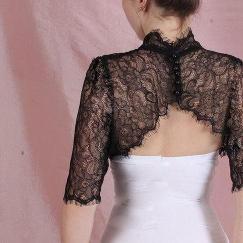 Black / ivory/white/ wedding bolero/ solstiss lace style /bridal shrug / jacket / /3/4 sleeve