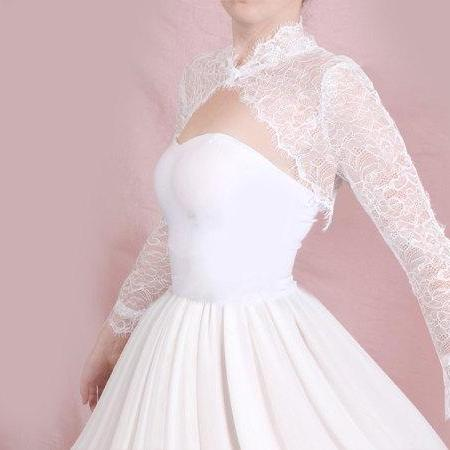 Bridal solstiss lace style /shrug / jacket / wedding bolero /long -sleeve /white /ivory/ black