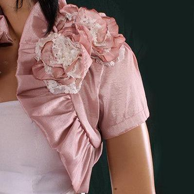 Bridal blush pink taffeta shrug wedding / bridesmaid/ bolero