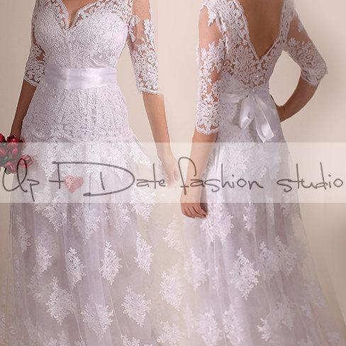 Lace Plus Size /Vfront & back /long/ mаxi wedding party/reception dress / lace / Bridal Gown 3/4 sleeve