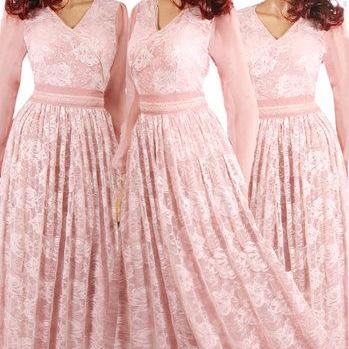 Maxi /chiffon /blush pink/ lace bridesmaid/ evening / party/ dress