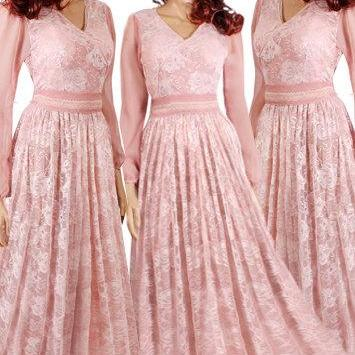 Plus Size Maxi / blush pink / chiffon- lace/ bridesmaid / evening / party / dress