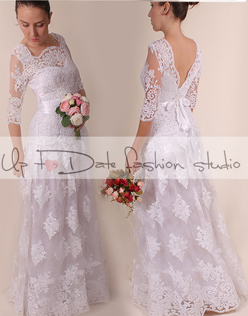 Lace Plus Size /V Neck Back/long/ Mаxi Wedding Party/reception Dress / Lace  / Bridal Gown 3/4 Sleeve