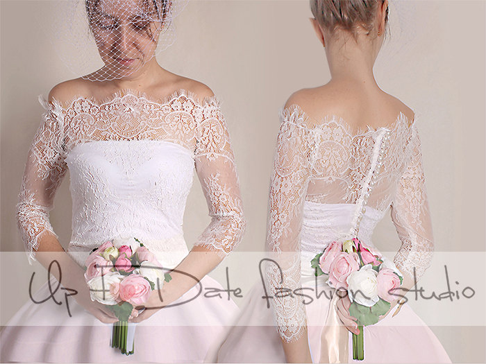 4ed618eccef Off-Shoulder Milky White Wedding Bolero  French Chantilly Lace  bridal Shrug   jacket 3 4 Sleeve on Luulla